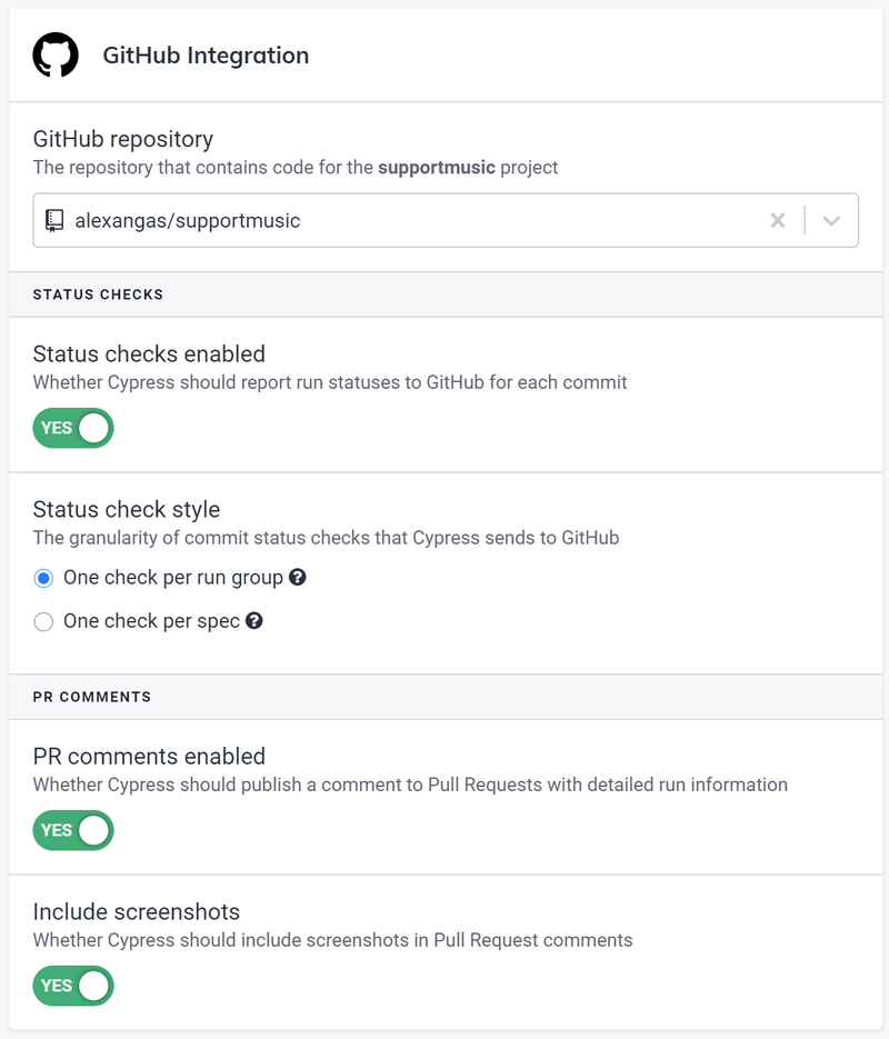 Cypress Dashboard GitHub Integration settings